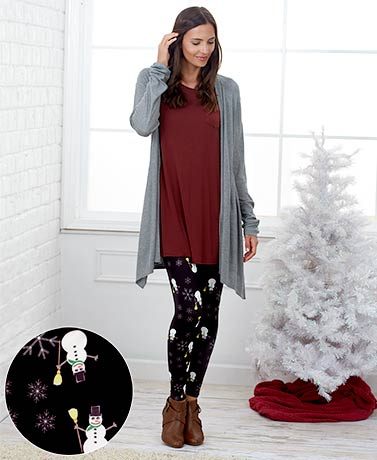 Women's Sueded Knit Holiday Leggings