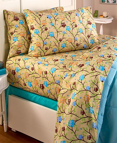 Cozy Owl Flannel Sheet Sets