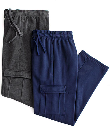 Men's Sets of 2 Cargo Pocket Fleece Pants