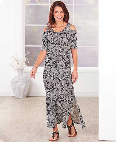 Women's Cold Shoulder Long Dresses