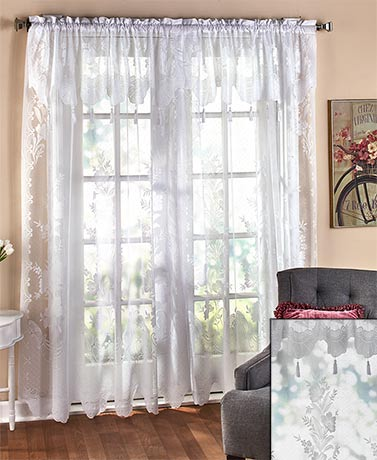 Lace Curtain with Attached Valance