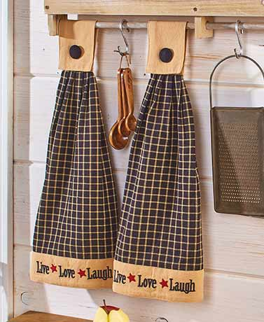 Set of 2 Hanging Kitchen Towels - Live Laugh Love