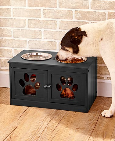 Elevated Pet Bowls with Storage