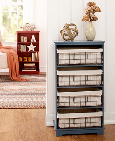 Storage Shelving or Lined Metal Basket Set