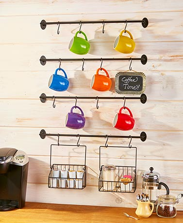 6-Pc. Wall-Mounted Coffee Mug Rack