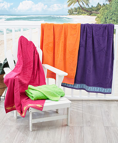 "34"" x 64"" Oversized Jacquard Beach Towels"