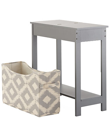 Side Table with Fashion Print Storage Bin