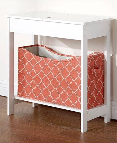 Side Table with Fashion Print Storage Bin - White