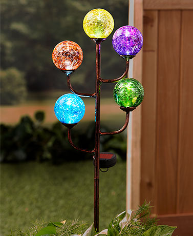 Colorful 5-Light Solar Stake
