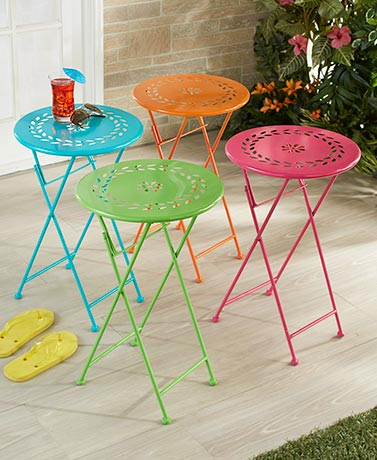 Foldable Bright Metal Side Tables