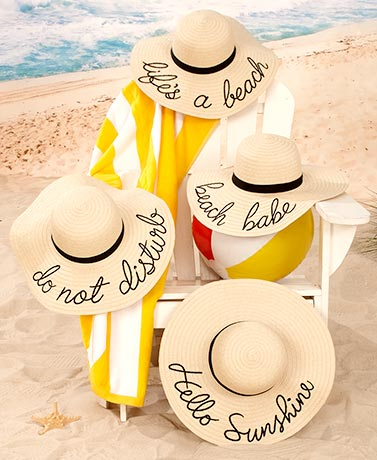 Embroidered Sentiment Floppy Sun Hats
