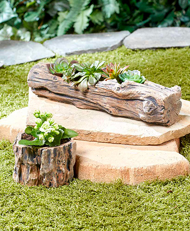 Brown Bark Wood-Look Planters
