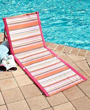 Striped Folding Beach Loungers - PinkOrange
