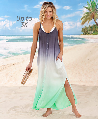 Ombre Button Front Cover-Up Dresses