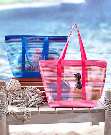 Oversized Multi-Stripe Mesh Beach Totes | LTD Commodities