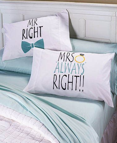 Mr. & Mrs Right Sets of 2 Novelty Pillowcases