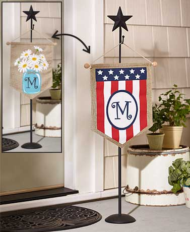 Double-Sided Monogram Flags or Stand