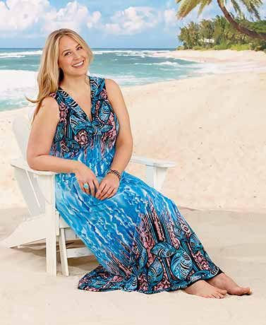 Women's Plus Border Print Maxi Dresses