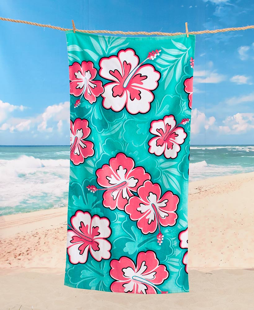 Tropical Beach Towels Turtle Hibiscus Relax Shades