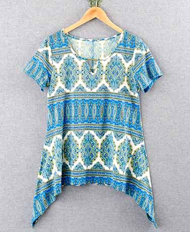 Women's Shark Tail Hem Printed Tops