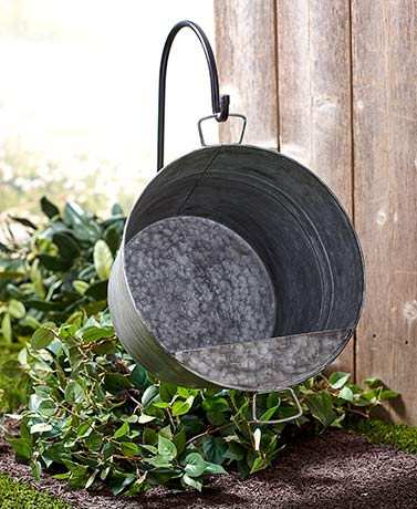 Hanging Pail Planter with Shepherd's Hook