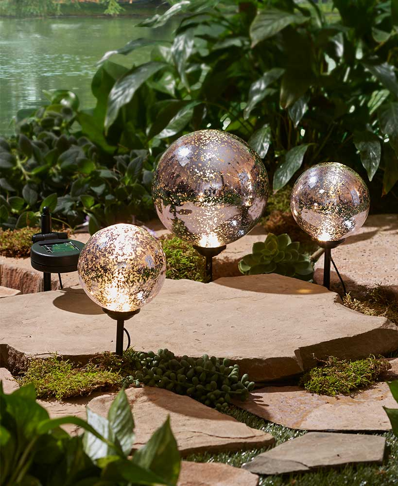 Sets of 3 Solar Gazing Ball Stakes | LTD Commodities
