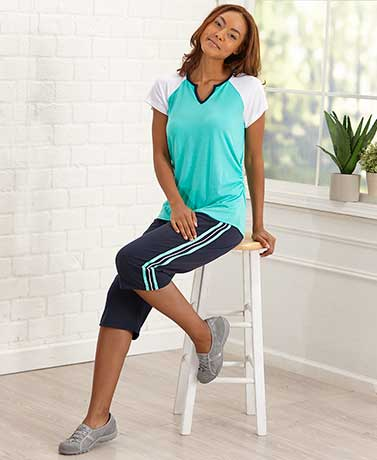 Turquoise Sporty Raglan Top and Capri Set