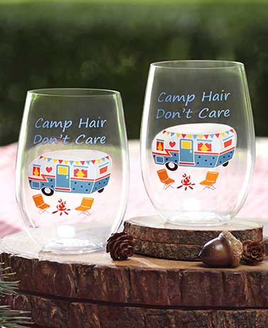 Sets of 2 Don't Care Stemless Wine Glasses