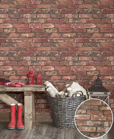 Prepasted Brick Wallpaper - Red