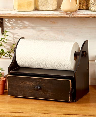 Rustic Paper Towel Holder with Storage