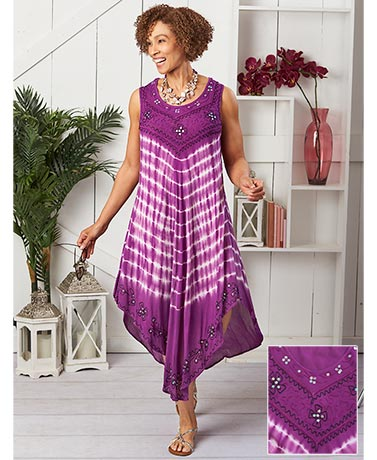 Women's Plus Embroidered Sleeveless Dresses
