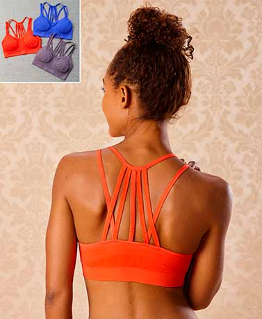 Set of 3 Strappy Back Padded Bralettes - Colors