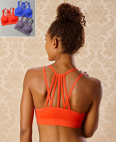 Sets of 3 Strappy-Back Padded Bralettes