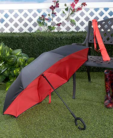 Inverted No-Drip Umbrella with Sleeve