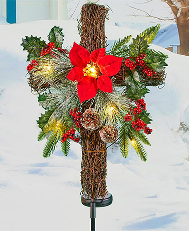 Solar Lighted Christmas Cross Stake