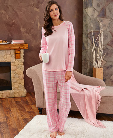 Knit and Plaid Flannel Boyfriend Pajamas