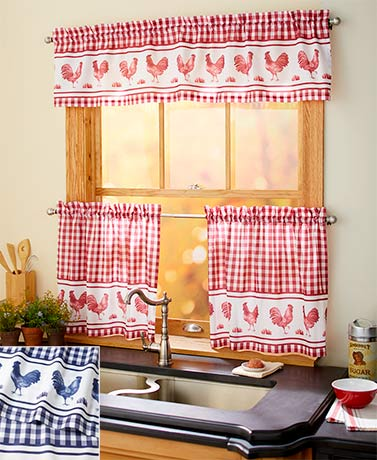 3-Pc. Rooster-Themed Curtain Sets