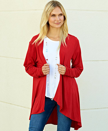 Longer Length Open Front Cardigans