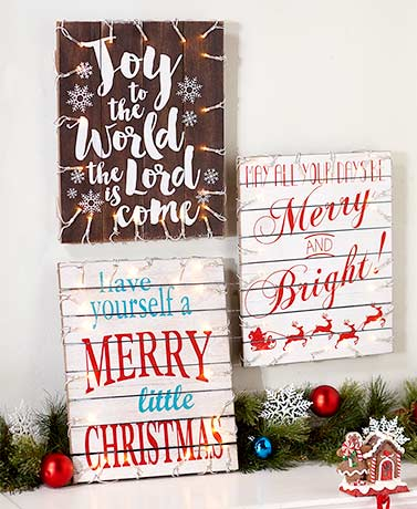 Lighted Holiday Pallet Signs