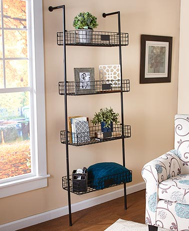 4-Tier Basket Wall Shelves - Black