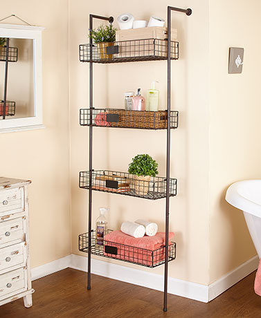 4-Tier Basket Wall Shelves - Bronze