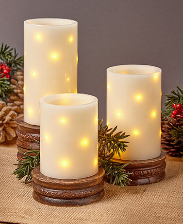 Set of 3 Embedded String Light Candles