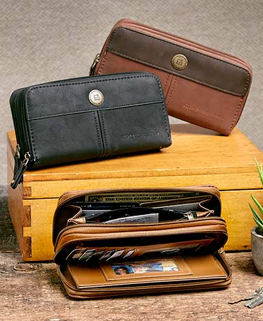 Stone Mountain Double Zip-Around Leather Organizer Wallets