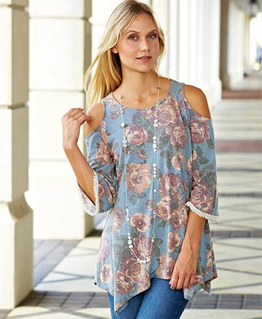 Cold Shoulder Floral Print Tops