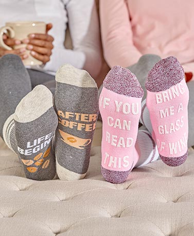3-Pair Wine, Coffee or Beer Slipper Socks