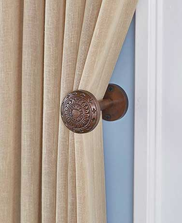Vintage Door Knob Curtain Tie-Backs