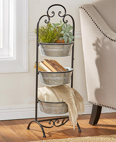 Galvanized Metal Basket Tower - Black
