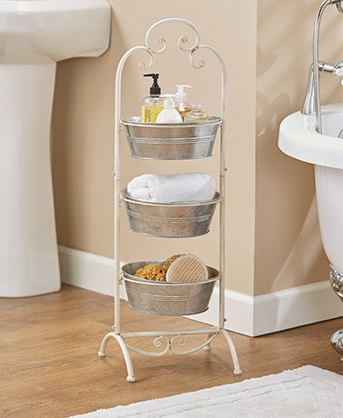 Galvanized Metal Basket Tower - Antique White