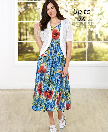 Breezy Floral Tiered Dress - Blue