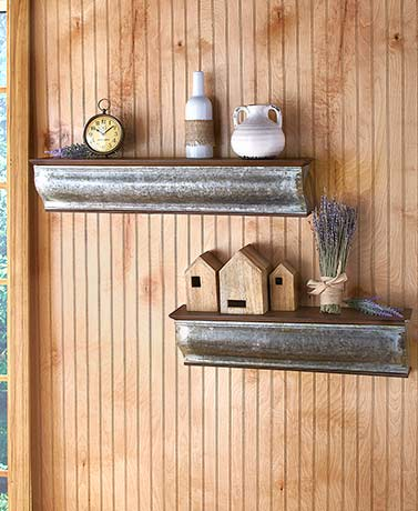 Wooden and Galvanized Metal Shelves